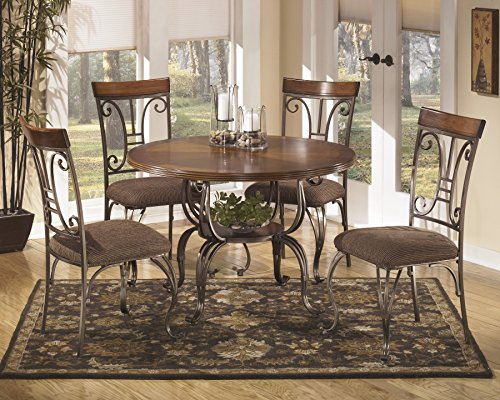Plandybird Brown Round Dining Room Furniture Set, Table w/ 4 Chairs