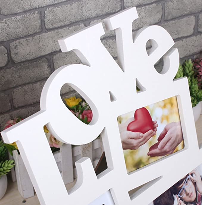 liuhoue Marco De Fotos De Amor Creativa Combinación, Amor Blanco Siamés Portaretrato Marco De Fotos De Decoración De Hogar Creativo: Amazon.es: Hogar