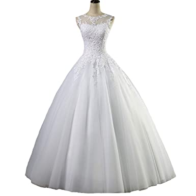 c86e696f5be Yuxin Appliques Lace Ball Gown Wedding Dresses 2019 Plus Size Vintage Princess  Bridal Gowns at Amazon Women s Clothing store