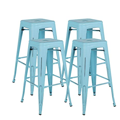 Incredible Bonzy Home Metal Bar Stools 30 Inch Distressed Industrial Indoor Outdoor Patio Bar Stools High Backless Stackable Home Kitchen Dining Stool Backless Creativecarmelina Interior Chair Design Creativecarmelinacom