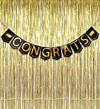 2018 Graduation Banner Decorations Congrats Grad - Black Gold Foil Metallic Fringe Curtains Party Supplies