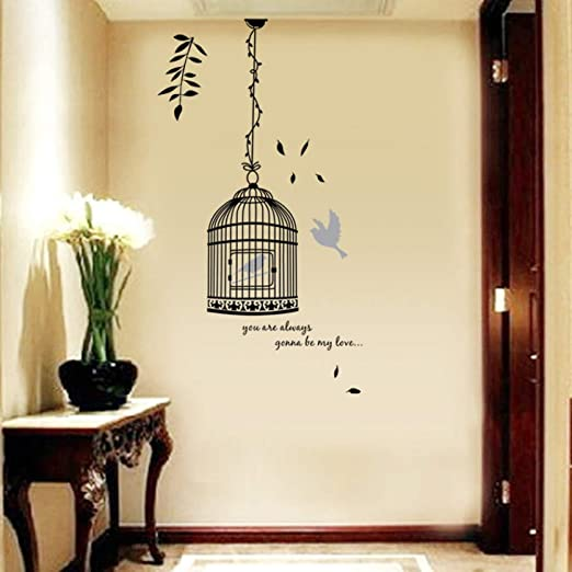 MWLSW Etiqueta de la Pared Jaula de bambú Negro Sala de Estar ...