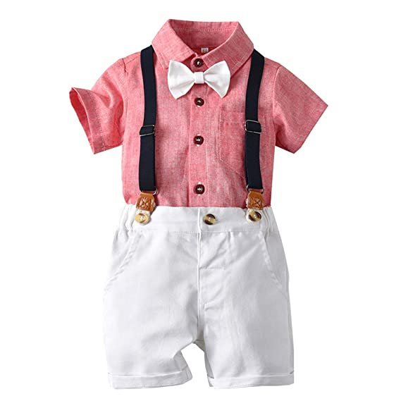 Infant Baby Boy Kid Gentleman Bow Tie Solid Shirt Top+Shorts Overalls Outfit Set