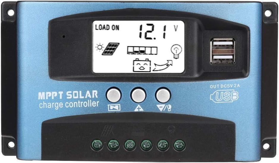 Controlador de Carga Solar, Cargador de Batería Solar 12V-24V MPPT Pantalla LCD Dual USB Regulador de Carga solar 40/50/60 / 100A(100A)