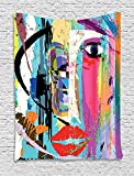 asddcdfdd Abstract Tapestry, Woman Face Art Composition with Paint Strokes and Splashes Eye Red Lips Grungy, Wall Hanging for Bedroom Living Room Dorm, 60 W X 80 L Inches, Multicolor