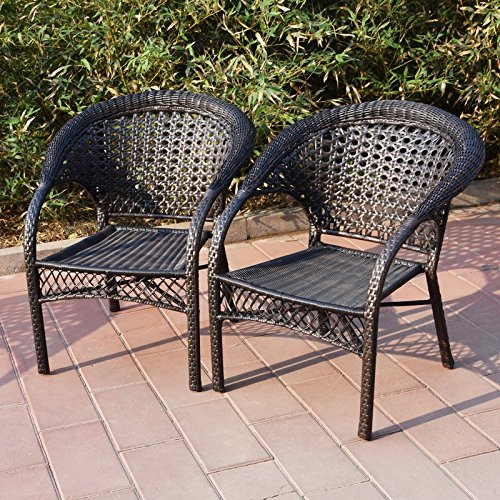 Adeco Brown Wicker Patio Furniture Dinning Set- Dinning Chair Only