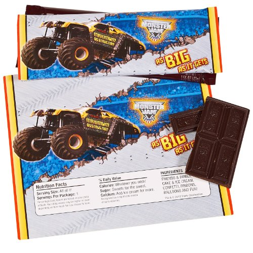 Monster Jam Party Supplies - Large Candy Bar Wrappers (8) - Candy Wrapper Costume