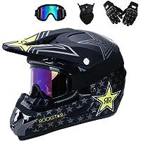 Full Face MTB Helm mit Schutzbrille Handschuhe Maske Helmnetz, Schwarz/Rockstar, Motorrad Motorradhelm Set Motorrad Off Road Sturzhelm Schutzausrüstung