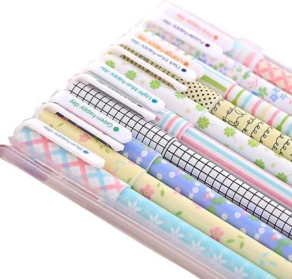 Cosanter Pack de 10PCS Bolígrafo de Tinta de Gel para Escribir, pintar, colorear para Estudiante,0,38MM,Pin Tipo,Multicolor: Amazon.es: Oficina y papelería