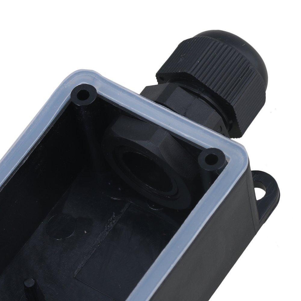 wasserdicht Kunststoff Verteilerdose f/ür 2 Kabel mit P02-3-Anschluss IP65 Kabelmuffe Schwarz