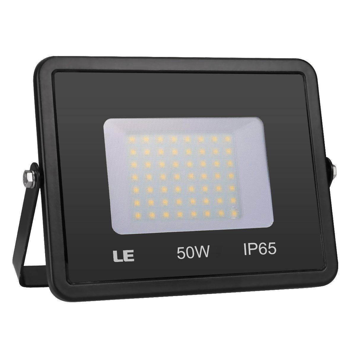 LE 50W Super Bright Outdoor LED Flood Lights, Waterproof, Security Lights, Floodlight (No Plug)