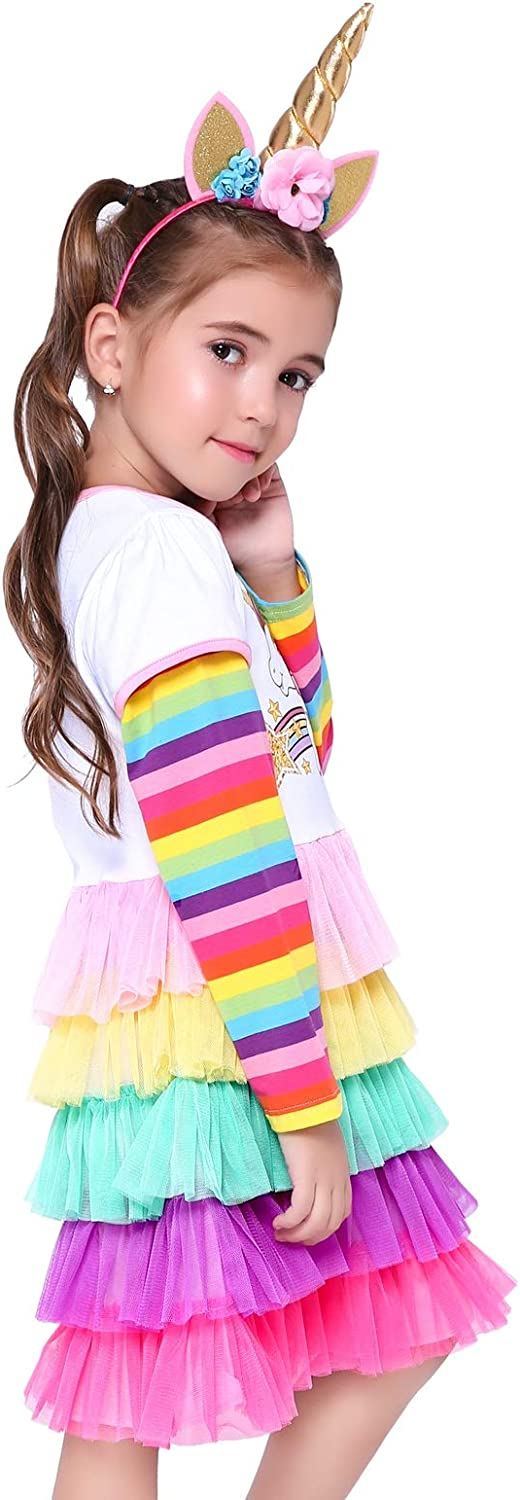 Unicorn Rainbow Birthday Toddler Little Girls Dresses Party Outfit for Girl Clothes