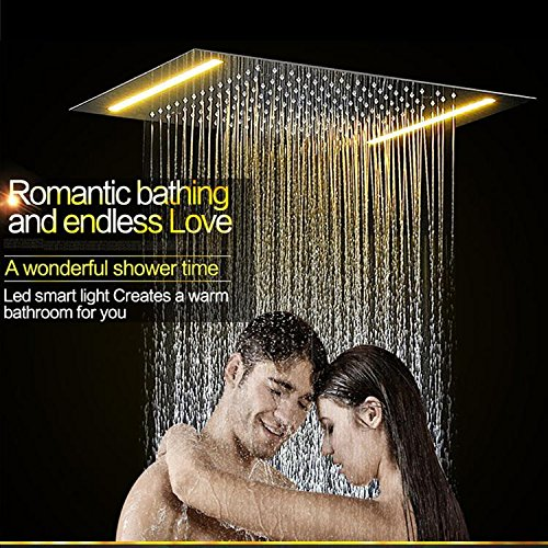 Gowe Electric LED Shower Set Embed Ceiling Shower Head,Spa Body Jets,Thermostat High Flow Bath Water Mixer Rain Shower Faucet Set 5