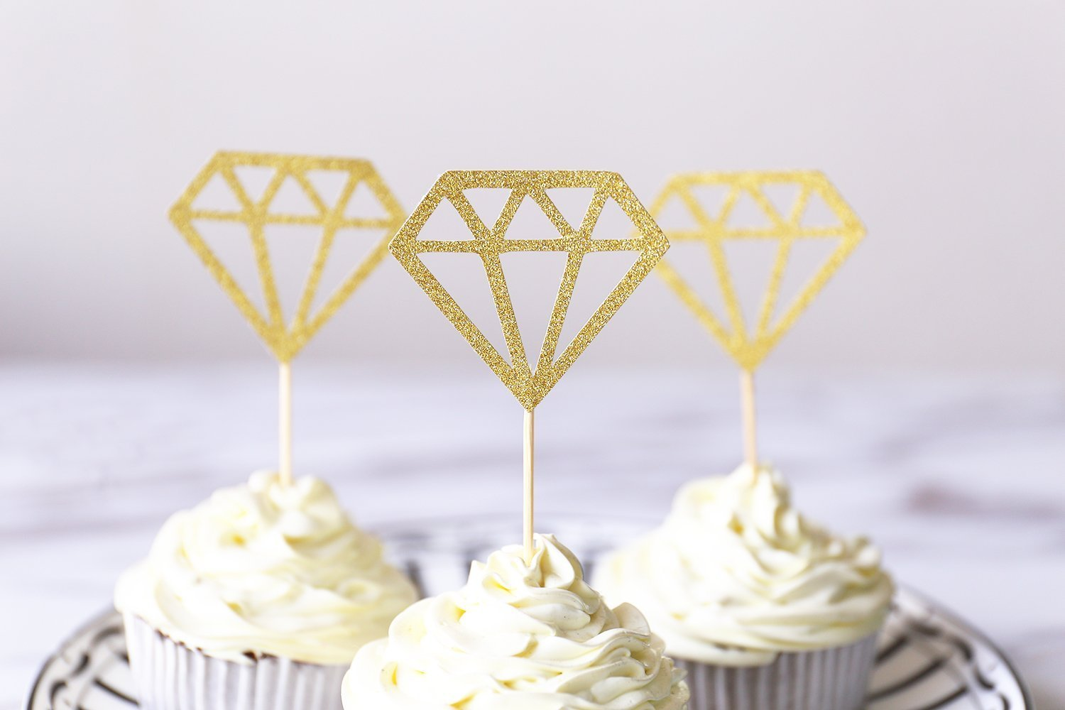 Diamond Cupcake Toppers/glitter gold wedding cake topper