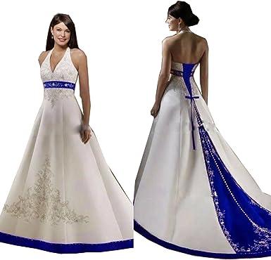 Royal Blue and White Wedding Dresses