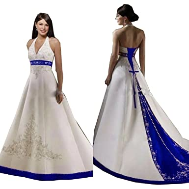 d889db0881a2 Diousha A Line Chapel Train Dress Embroidery Beaded Satin Royal Blue and White  Wedding Dresses (