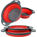 "YHXK Set of 2 Silicone Collapsible Kitchen Colanders and Strainer Set for Draining Fruit Vegetable Basket Dishwasher with Handles,includes 2 Baskets Size:11.5"" and 9.7""(Red)"