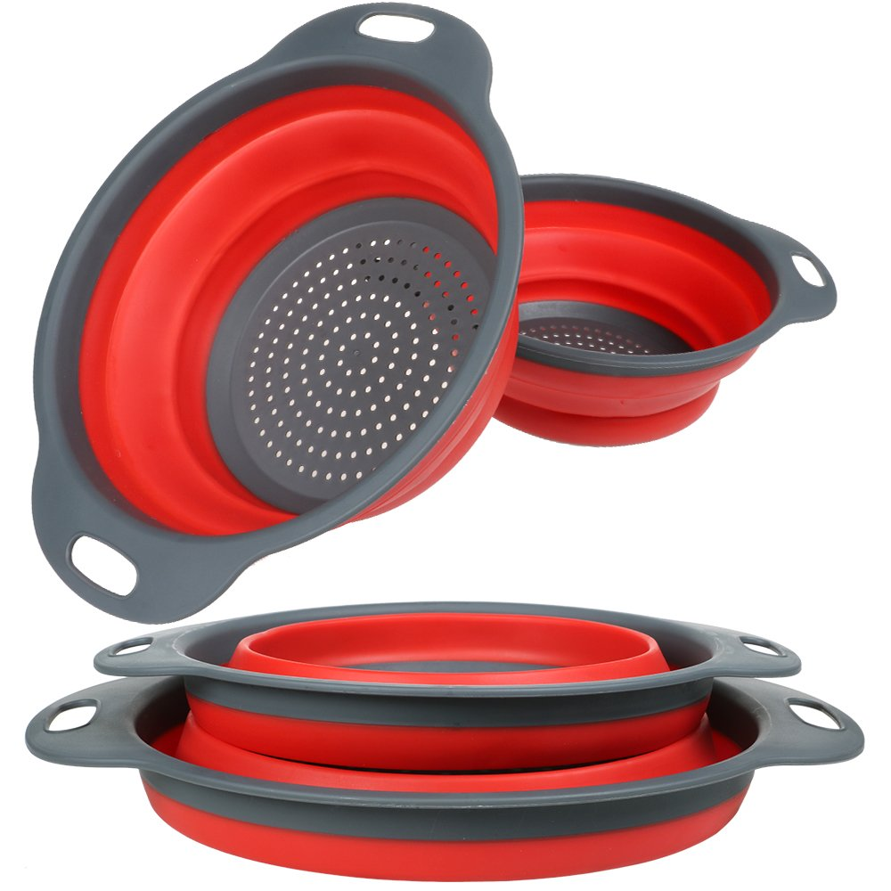 Collapsible Colander and Strainer Set, YHXK Food Grade Silicone Folding Kitchen Vegetable Basket-11.5'' and 9.7'' Size with Handle, BPA Free, Dishwasher-Safe for Draining Pasta, Veggies, Fruit (Red)