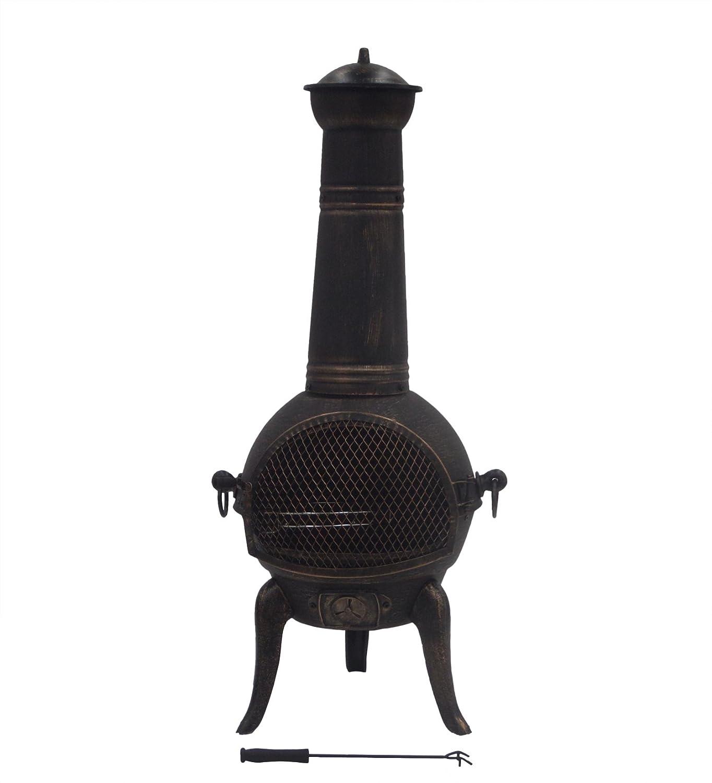 Kendan Hadstock Bronze - 109 cm Grande Cheminée d'extérieur en fonte Cheminée Cheminée Chauffage de terrasse Incinérateur Poêle à bois Brûleur Foyer (avec grille pour barbecue et Housse de pluie)