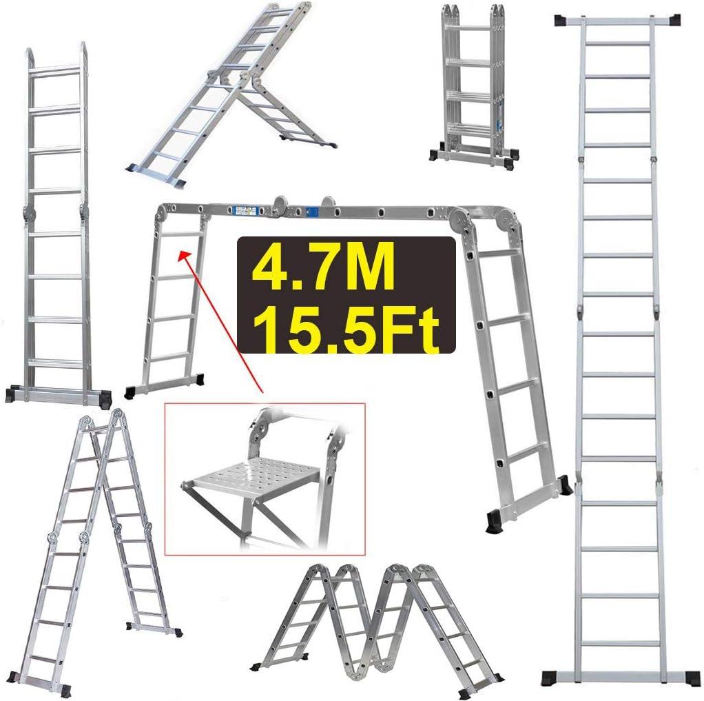 ZhanGe Escalera Multiusos de 4,7 m Plegable con Plataforma Ligera Extensible para Escalera de desván EN131, Extensible de Aluminio, Escalera Ligera de 330 Libras de Capacidad: Amazon.es: Juguetes y juegos