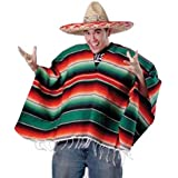 U.S. Toy Unisex Bright Striped Cotton Mexican Style Poncho Halloween Costume (HAT NOT INCLUDED)