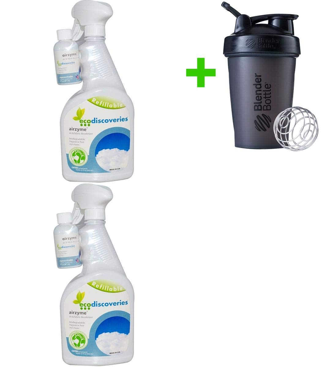 ecoDiscoveries, Airzyme, Air & Fabric Deodorizer, 2 fl oz (60 ml) Concentrate w/ 1 Spray Bottle(2 Packs)+Sundesa, Blender Bottle, Classic with Loop, 20 oz by ecoDiscoveries (Image #1)