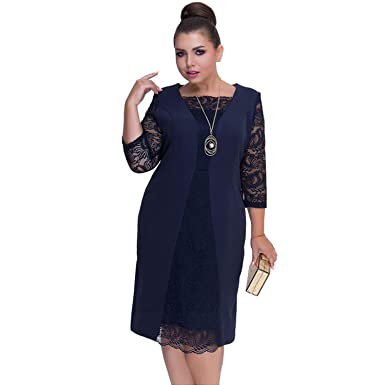 79991e098c80a 6XL Women Dress Large Size Autumn Winter Lace Dress Green Rob Female ...