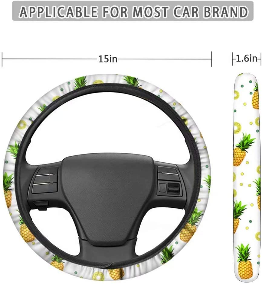 CLOHOMIN Swirl Tie Dye 11 PCs Car Accessories,Includes 1 PCs Steering Wheel Cover,2 PCs Car Seatbelt Pads,2 Headrest Cover,2 PCs Cup Coaster,4 PCs Key Chains