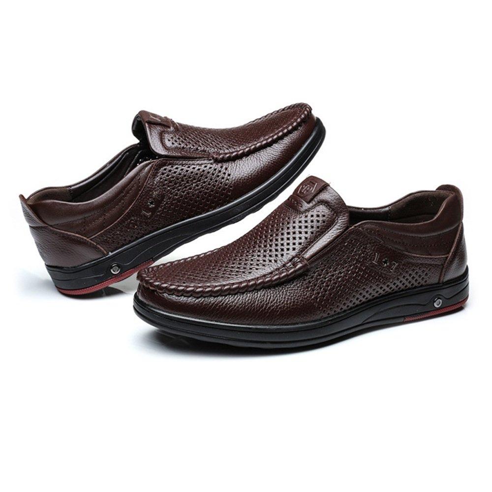 US Color : Dark BN, Size : 7 D YJiaJu Genuine Leather Loafer Men,Classic Genuine Leather Shoes Slip-on Breathable Perforation Soft Flat Sole Loafer Shoe for Men M
