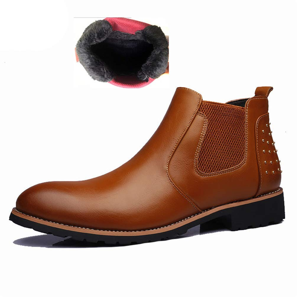 c5db66f95b Men Ankle Boots Leather Chelsea Boots Breathable Outdoor Casual Shoes  Formal Boots Handmade Boots with Rivet in Black Brown: Amazon.co.uk: Shoes  & Bags
