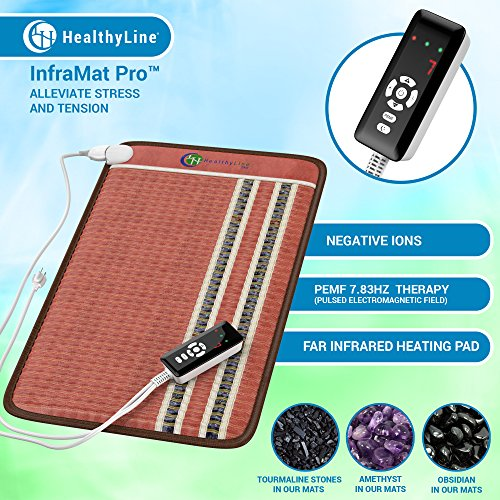 HealthyLine Infrared Heating Pad 32''x20'' (Firm)|PEMF 7.83Hz Tourmaline, Amethyst & Obsidian Gemstones |US FDA Registered, Comfy & Portable Pad |For Sore Muscles & Aching Joints|With Foil Blanket by HealthyLine (Image #2)