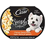 Cesar Simply Crafted Adult Wet Dog Food Cuisine Complement, Chicken, Sweet Potato, Apple, Barley & Spinach, (Pack of 10) 1.3 oz. Tub