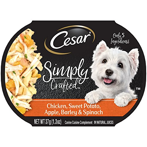 - Cesar Simply Crafted Adult Wet Dog Food Cuisine Complement, Chicken, Sweet Potato, Apple, Barley & Spinach, (Pack Of 10) 1.3 Oz. Tub