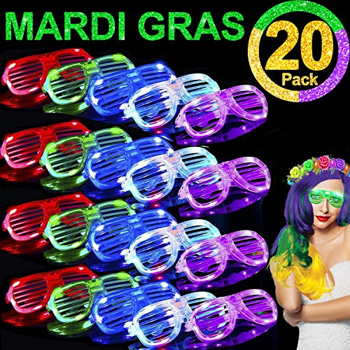 Glow In The Dark Favors (TURNMEON 20 Pack LED Glasses,Light Up Glasses Glow In The Dark Mardi Gras Party Favors Supplies for Adults Kids,St.Patrick's Day Glow Glasses Party Sunglasses Carnival Neon Party Favors)