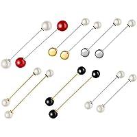 12 Piezas Clips de Chal Suéter Incluye Broche, Chal Blanco Negro Broches, Broche de Perlas Falsas y Clips, Broche Pin…