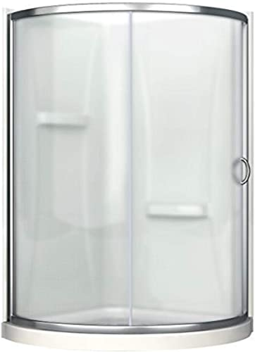 Ove Decors Breeze 34 in x 76 in. Frosted Glass Sliding Door Acrylic Walls and Base Kit Round Corner Shower, Inch, Chrome Finish