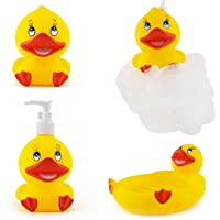 FunBlast (Set of 4) Bathroom Accessories for Kids Includes Soap Holder, Bathing Ball, Toothbrush Holder and Lotion Dispenser (Duck)