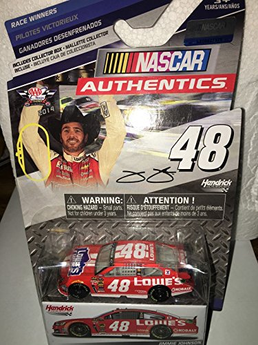 (NASCAR Authentics 2014 Race Winners Edition Texas Win #48 Jimmie Johnson Lowes Red Vest 1/64 1:64 Scale DIECAST Race CAR with Collectible Box)