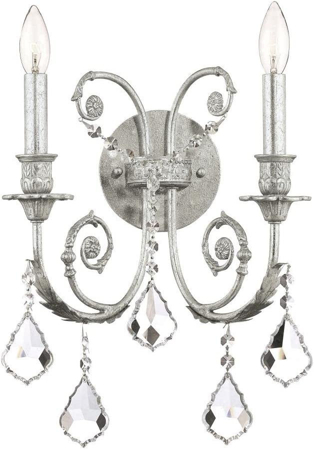 B//S 7.00 inches Slvr.finish Crystorama 5112-OS-CL-S Crystal Accents Two Light Sconces from Regis collection in Pwt Nckl