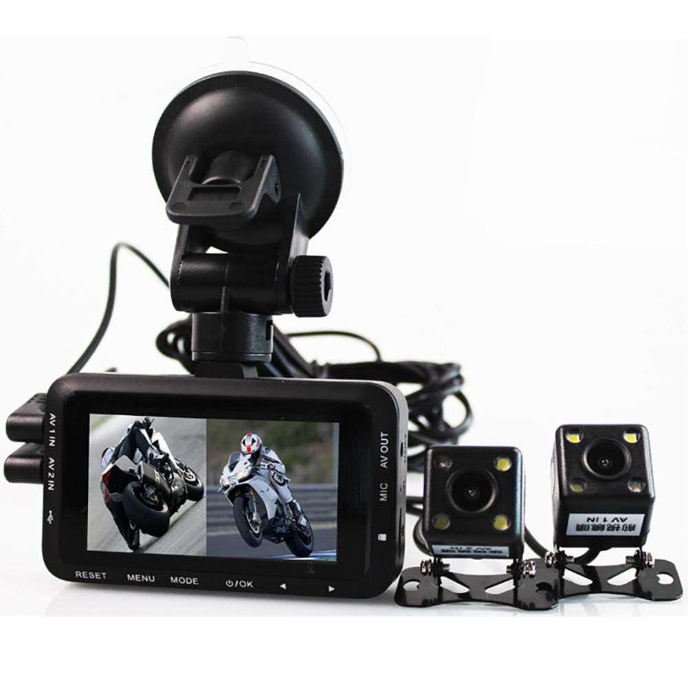Genekun Motorcycle Recorder Dashcam Locomotive Camcorder Double Lens Camera by Genekun
