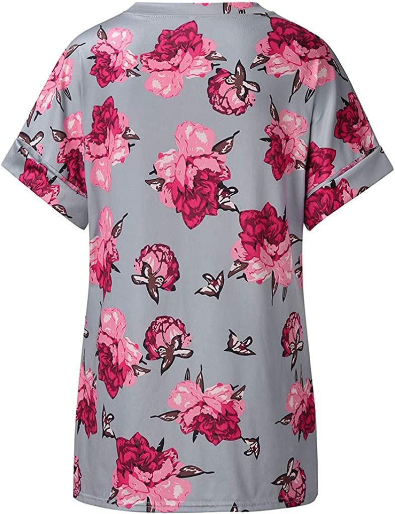 DAYPLAY Womens Tops Plus Size Summer Boho V Neck Tunic Short Sleeve Tee Shirt for Ladies Blouse 2019 Womens Clothes Sale