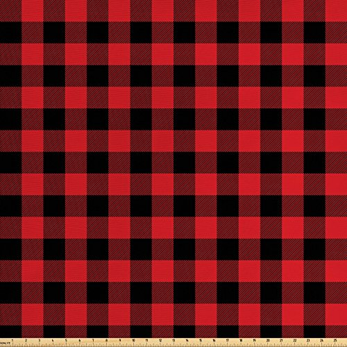 Decor Plaid Home Fabric (Ambesonne Plaid Fabric by the Yard, Lumberjack Fashion Buffalo Style Checks Pattern Retro Style with Grid Composition, Decorative Fabric for Upholstery and Home Accents, Scarlet Black)