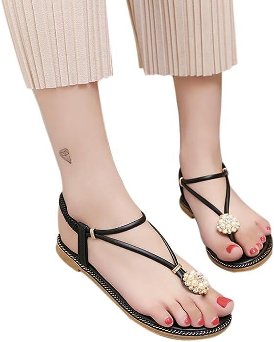 d21a2a324267 ... Open Toe Ankle Straps Shoes. DENER Women Girls Ladies Summer Flip Flops  Flat Platform Low Heel Bohemian Flower Anti Skidding Wedge