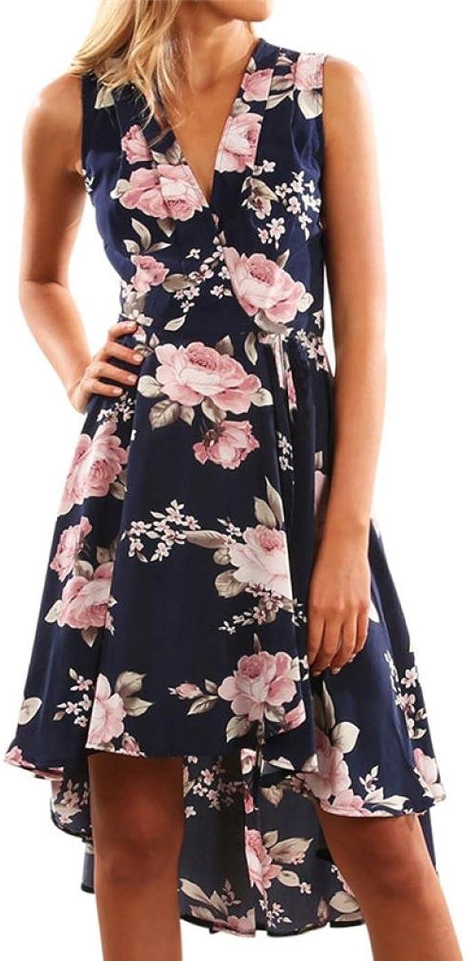 iHee Sommerkleider, Damen Mode Aus Schulter Unregelmäßiger Rock Print Kleid  Blumen Kurzes Mini Kleid Beach Party Kleider