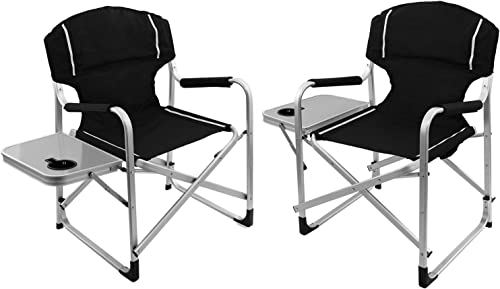 Magshion Folding Director s Chair Aluminum Camping Lightweight Chair with Side Table Set of 2