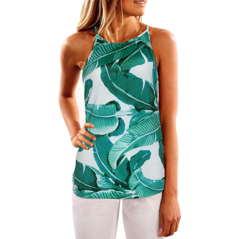 TIFENNY Women Sleeveless Flower Printed Casual Blouse Vest Top, (S, Green)