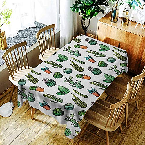 XXANS Waterproof Table Cover,Cactus,Sketchy Spiked Mexican Garden Foliage Boho Hand Drawn Style Line Art Cacti in Pots,Table Cover for Kitchen Dinning Tabletop Decoratio,W60x84L Multicolor ()