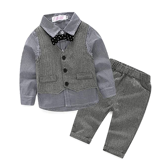 a6325ba8c04d Amazon.com  Baby Boy Vest Set Plaid Suit Shirt Pants Bowtie ...