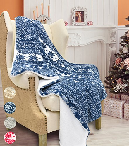 Blanket Lambswool - Catalonia Christmas Sherpa Throw Blanket,Super Soft Warm Fuzzy Comfy Lambswool Snowflake Blankets Reversible Plush Fleece Christmas Theme Throws 50