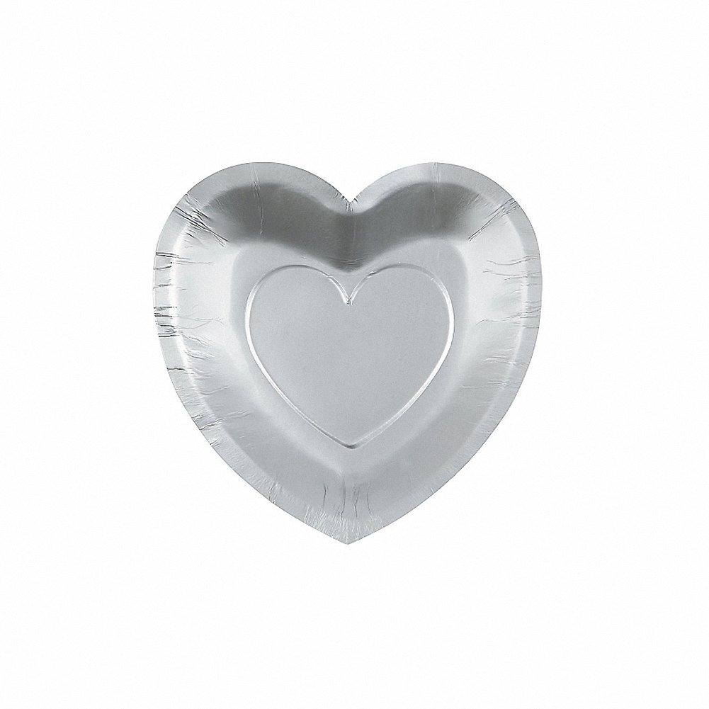 25 x Silver Heart Shaped Wedding Day Dessert Paper Plates Sole Favours UKASNBABO4216